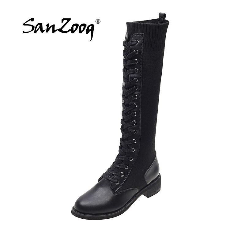 Women Knee High Sock Boots Long Stockings Autumn Winter Botas Altas Mujer Sobre Rodilla Bottes Femme Bota Feminina Leather Black