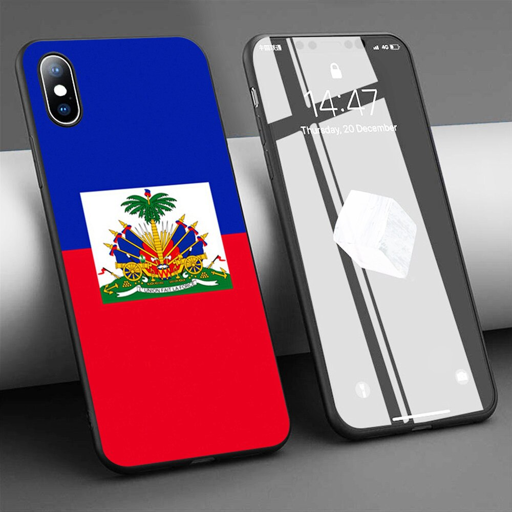 Funda de teléfono de silicona blanda con bandera haitiana para iPhone 11 Pro Max X 5S 6 6S XR XS Max 7 8 Plus
