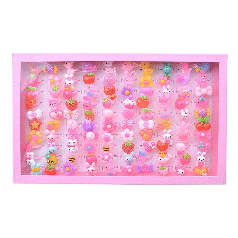 Anillos de fantasía ajustables de plástico con forma de flor de Animal de dibujos animados, forma de arco, recuerdos de fiesta de princesa, anillos de joyería, juguetes para juego de imitación 10/20/50 Uds