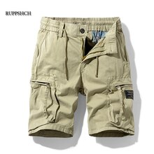 Ruppshch Men Summer New Casual Outdoor Military Pocket Cargo Pants Shorts Fashion Twill Cotton Camou