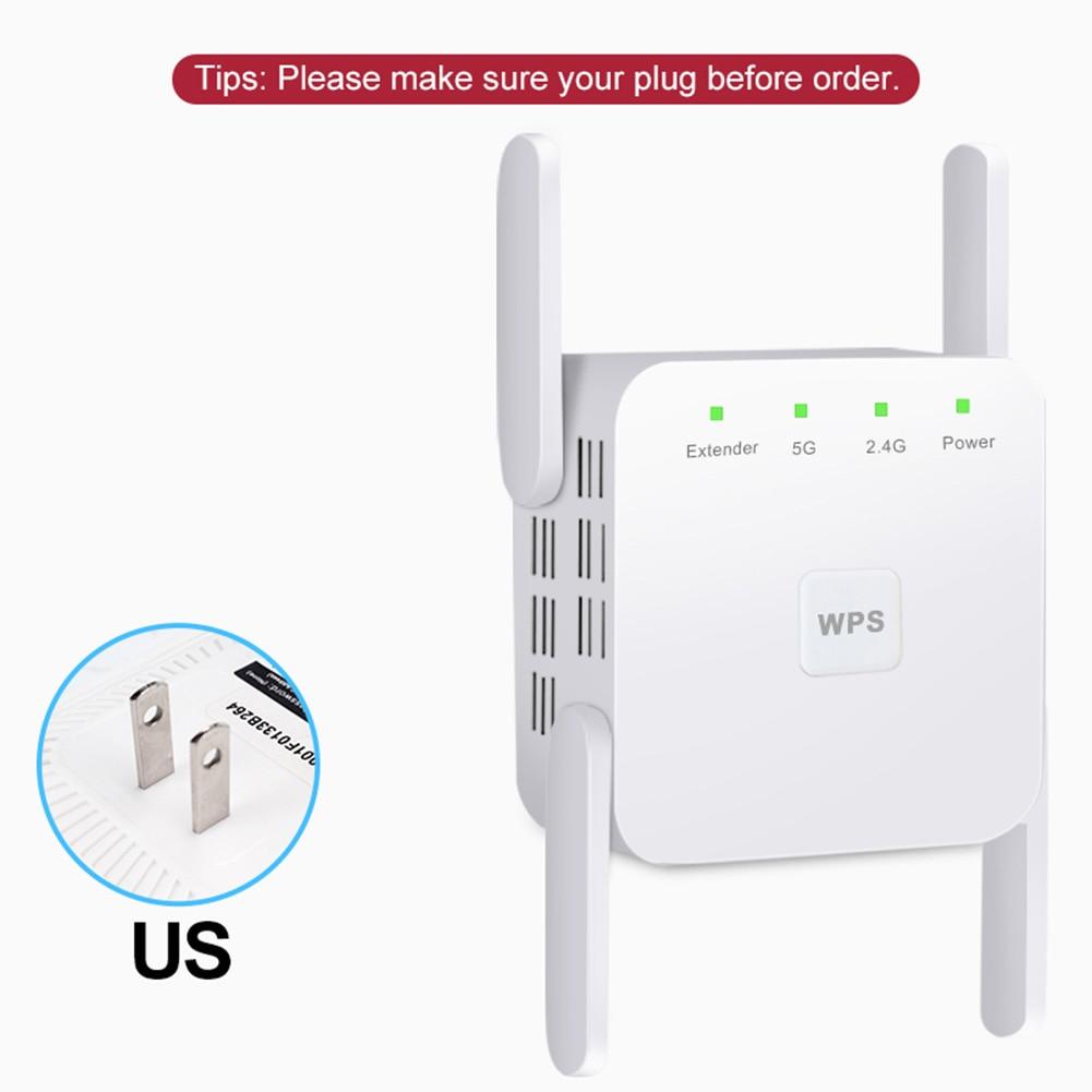 Repetidor WiFi inalámbrico de 2,4G/5Ghz, amplificador WiFi de 1200 Mbps, extensor WiFi de largo alcance