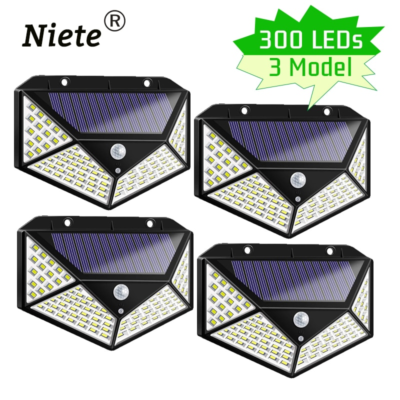 300 LED Solar Led Light Outdoor Waterproof Garden Ip65 Motion Sensor Emergency Bulbs ABS Solar Lamps Decoration for Ground Fence