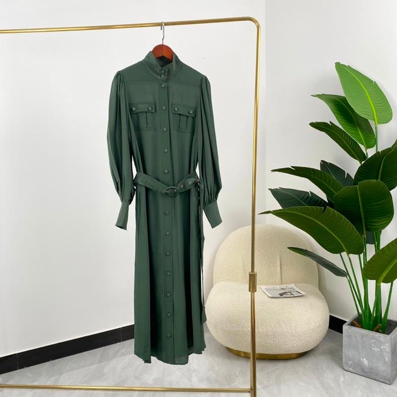فستان صيفي 2021 عالي الجودة 100% حريري أخضر a-line بأكمام طويلة كلاسيكي أنيق للسيدات وصل حديثاً