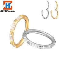 g23 titanium piercing earrings square cut side cz stone open small nose rings helix septum hinged wholesale perforated jewelry