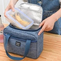 1pcs fresh cooler bags waterproof portable zipper thermal oxford lunch bags women convenient lunch box tote food storage bags
