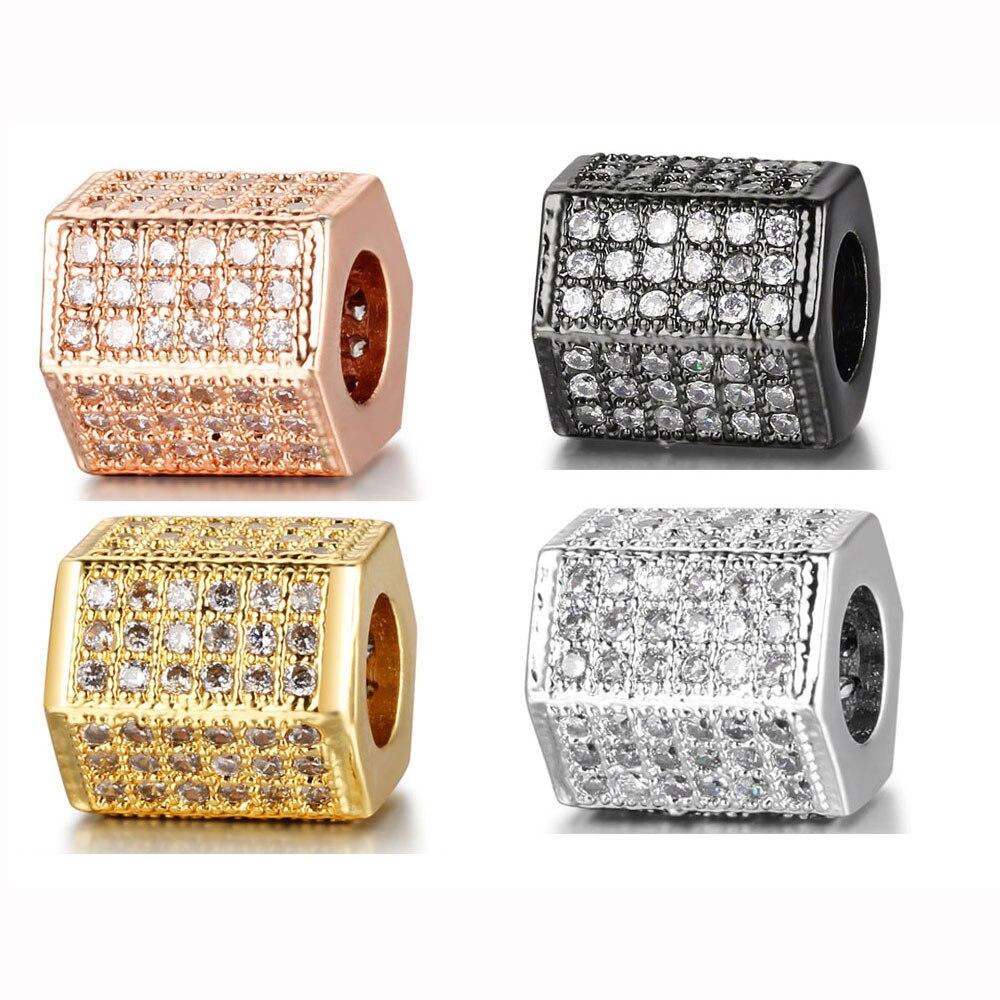 LVnistar – perles hexagonales en Zircon pour hommes, 2 pièces/lot, perles de bricolage en métal, perles despace, en laiton, Micro pavé, Bracelet