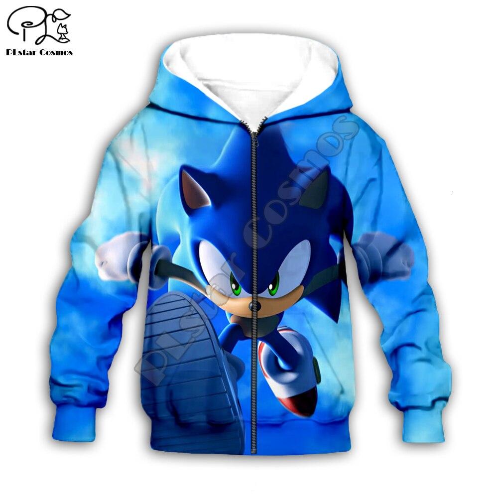 Family shirts Anime Super Sonic 3d Hoodies Children zipper coat Long Sleeve Pullover Cartoon Sweatsh