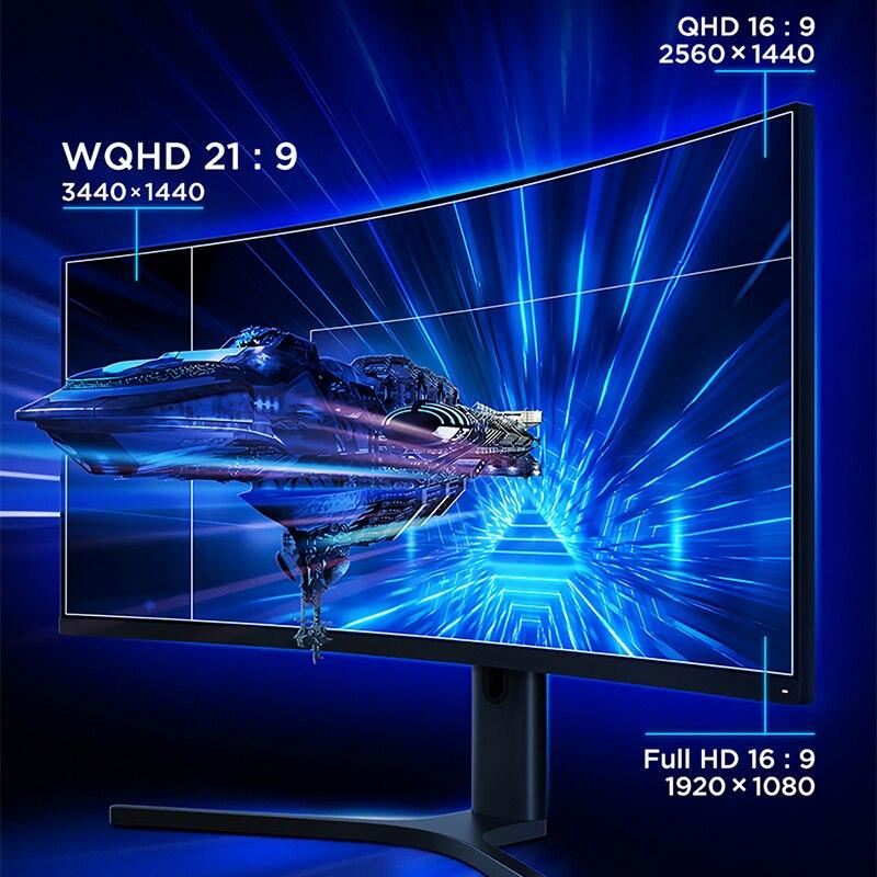 Изогнутый игровой монитор XIAOMI 34 дюйма 3440*1440 WQHD 21:9 экран 144 Гц Высокая частота обновления 121% sRGB 1500R кривизна-1