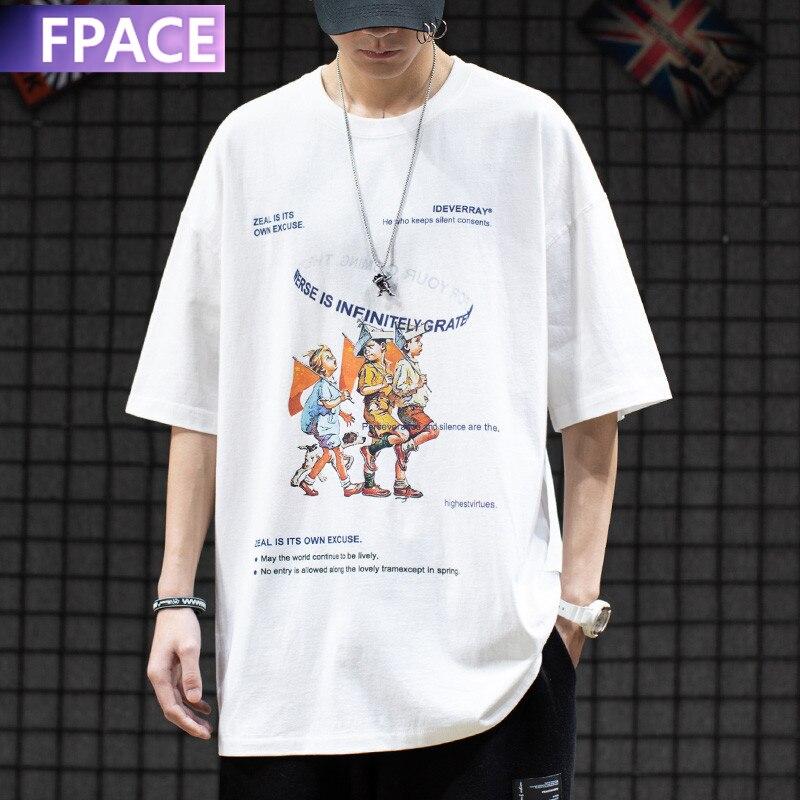 FPACE Men Hip Hop Streetwear men T Shirt Funny Cartoons Printed Tshirt Harajuku Cotton Loose T-Shirt Summer Short Sleeve Tee недорого