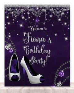 Custom Sparkly High-heeled Shoes Bead Purple 40th backdrop  High quality Computer print birthday photo studio background