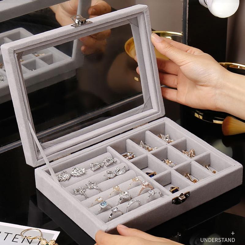 Hot Sales Fashion Portable Velvet Jewelry Ring Jewelry Display Organizer Box Tray Holder Earring Jewelry Storage Case Showcase