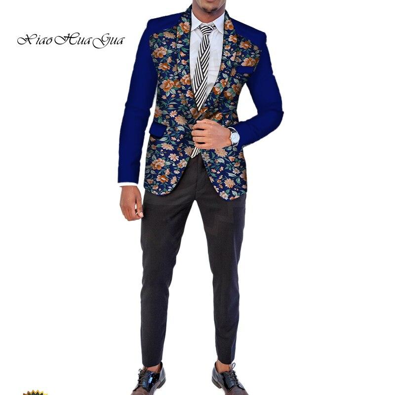 Trajes de boda americana africana para hombre Dashiki Bazin Riche Ankara traje chaquetas trajes formales Tops capa Dashiki fiesta WYN512