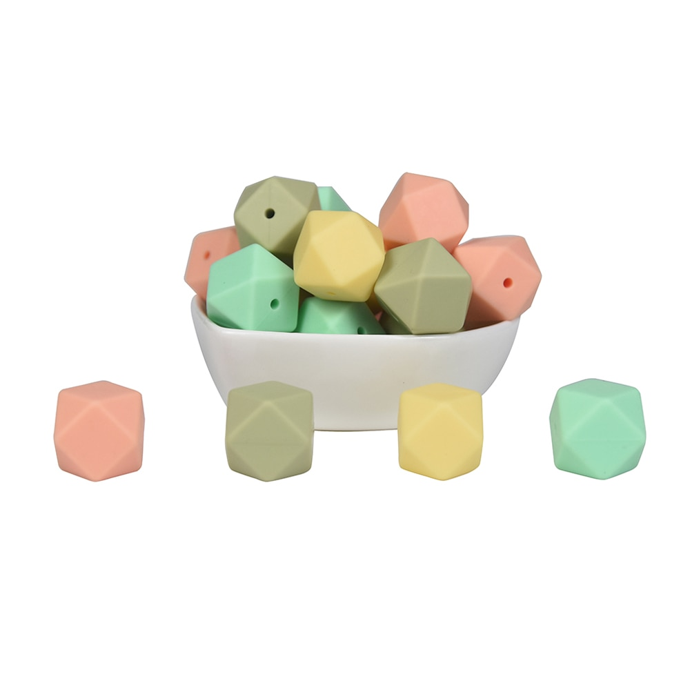 Mabochewing 100pcs Mix Color 17mm Silicone Hexagon Beads Baby Teethers Pacifier Clips Food Grade BPA Free