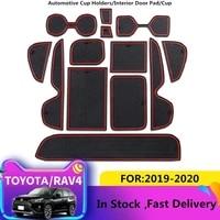 anti slip car door rubber cup cushion red gate slot pad for toyota rav4 xa50 rav 4 50 mk5 2019 2020 interior mat accessories