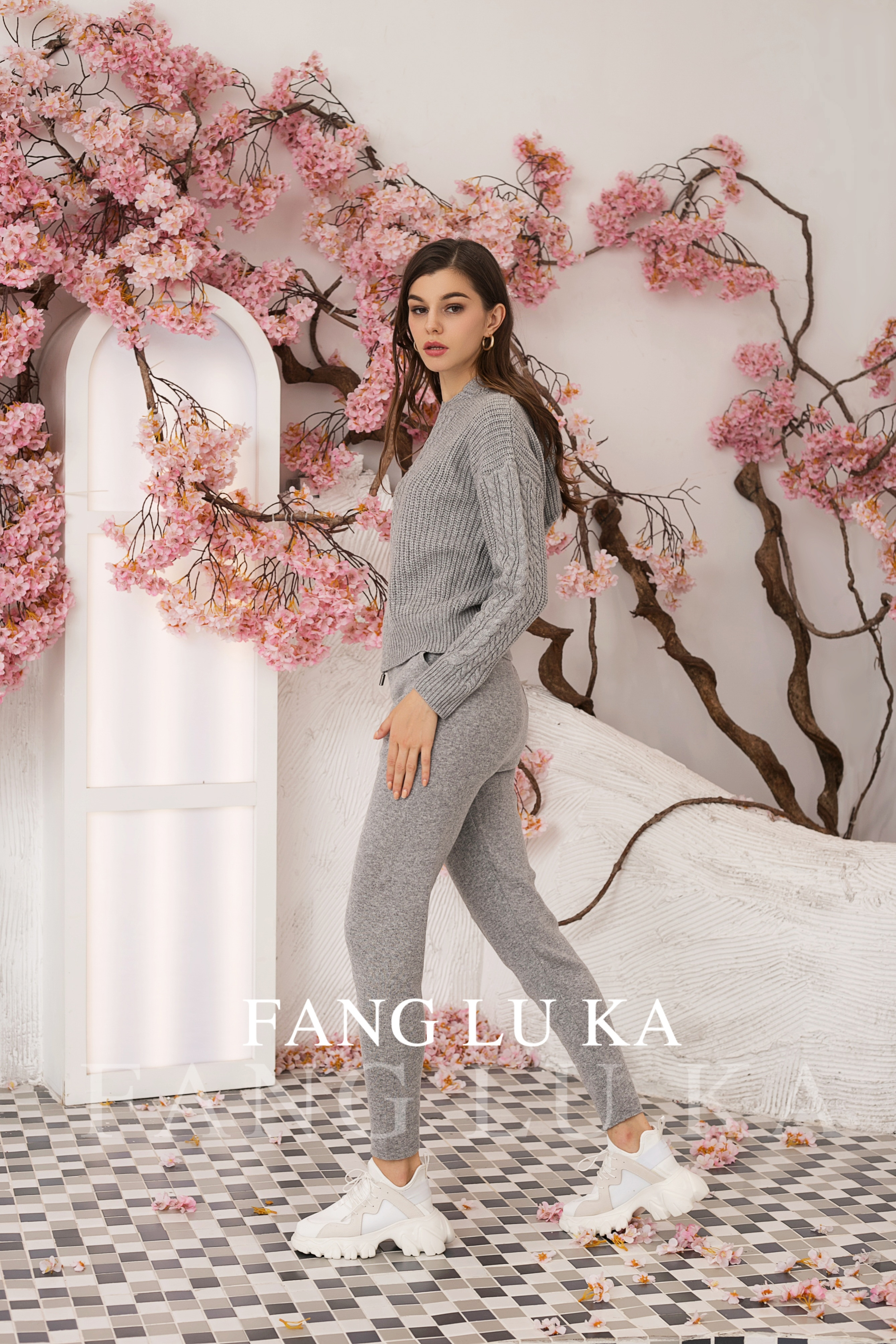 Fashion Autumn Winter Tracksuit Women Hoodies + new casual Leggings Two Piece Set Outfits Knitted enlarge
