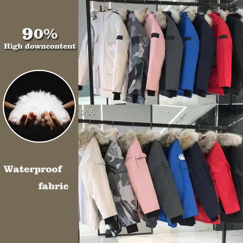 Winter 2021 90% White Duck Down Jacket Men's Women's Mid-Length Zipper Pocket Warm Coat Jacket