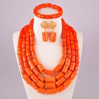 orange coral beads african coral beads set jewelry necklace nigerian wedding coral necklace jewelry set for women