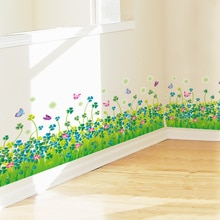 [shijuekongjian]  Clover Plant Waist Line Wall Sticker DIY Grass Wall Decals for Living Room Kids Bedroom Baseboard Decoration
