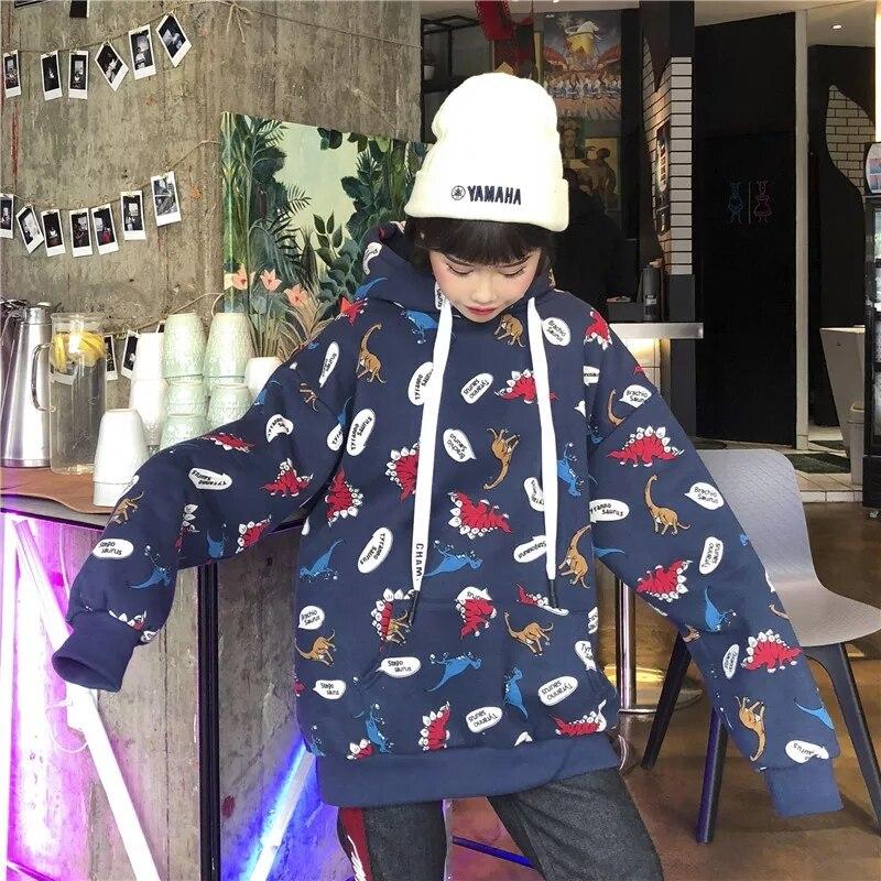 Ulzzang autumn female Harajuku fashion sweatshirt casual loose cartoon print dinosaur hooded ins Pullovers Sweatshirt