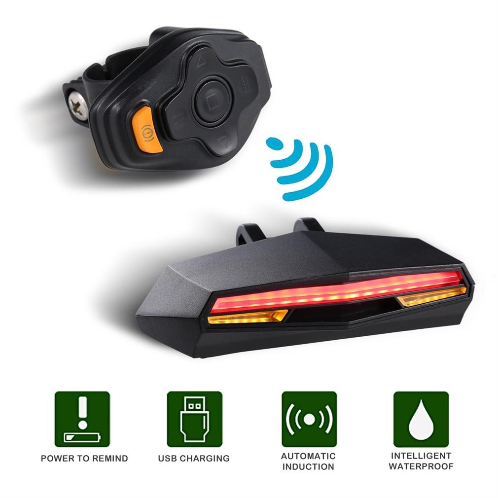 Offre spéciale ABS intelligent arrière Laser vélo lumière vélo lampe LED USB Rechargeable sans fil télécommande télécommande vélo vélo lumière