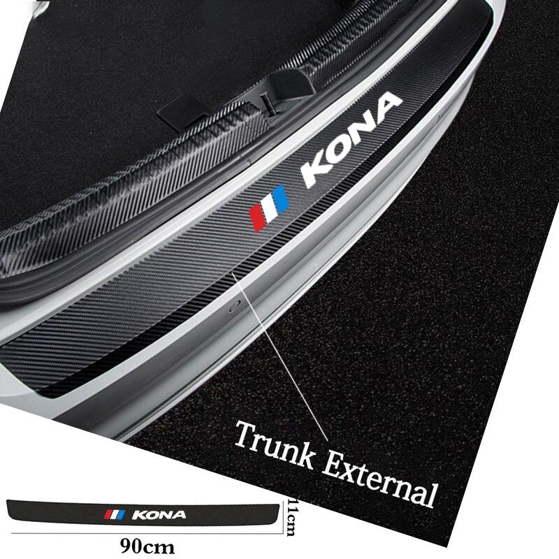 AliExpress - Car Rear Bumper Plate Trunk Sill Guard Carbon Fiber Sticker For Hyundai KONA Protecotr Decoration Vinyl Decals Auto Accessories