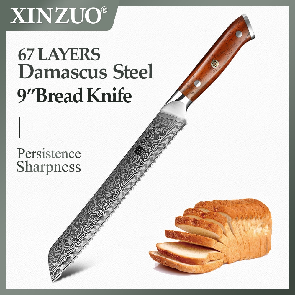 XINZUO 9'' inch Bread Knife 67 Layers Damascus Top Quality Serrated Knives Kitchen Knife Cooking Tools with Rosewood Handle