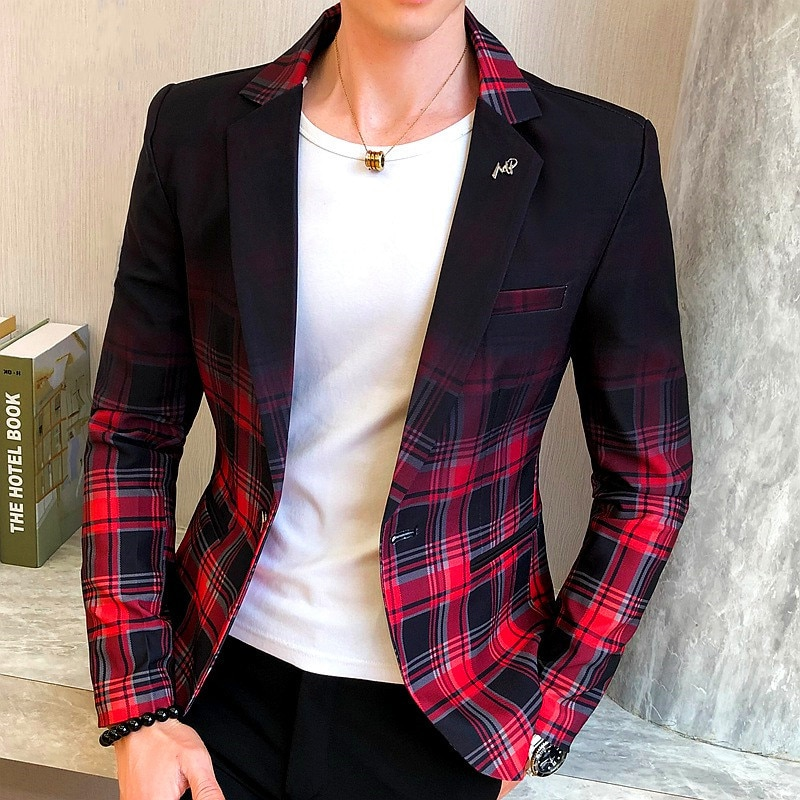 Men Blazer 2020 Spring New Colorblock Plaid Blazer Men Slim Casual Man Blazers Wedding Business Party Clothing Dress Men Coats
