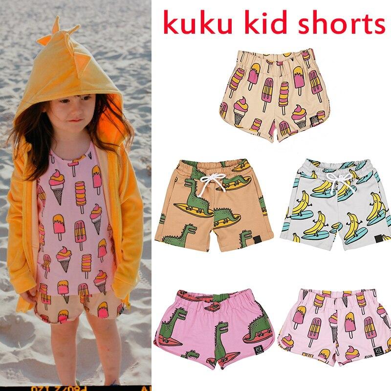 boys shorts 2020 Summer Kukukid kids shorts for girls PINK DINOSAUR Fashion Cute Print Beach pocket Shorts