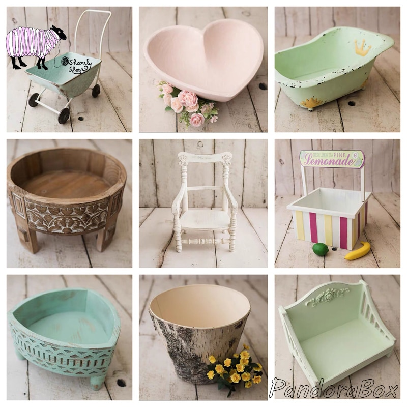 Baby Photoshoot Studio Posing Wood Basket Newborn Photography Props Bucket Baby Shooting Wooded Bowl fotografia Accessories Prop