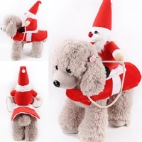 pet dog christmas clothes santa claus riding a deer jacket coat pets for big dog or small dog apparel costumes
