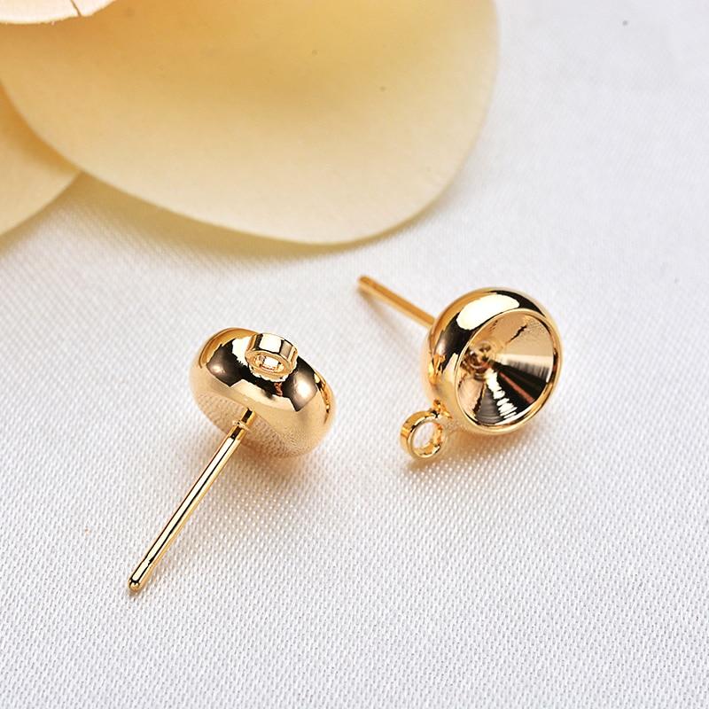 10 Uds 6MM 24K Color oro latón con ganchos agujero perno redondo Pines de pendientes accesorios de joyería de alta calidad
