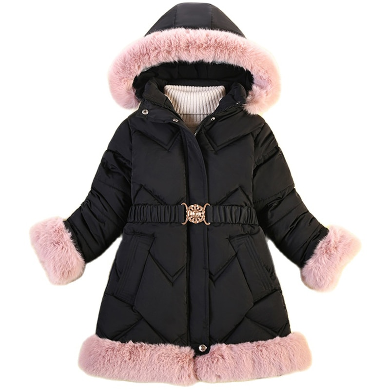 Baby Girl Winter Thicken Coat Kids Keep Warm Mid-length Jacket Children Hooded Parka Outing Service