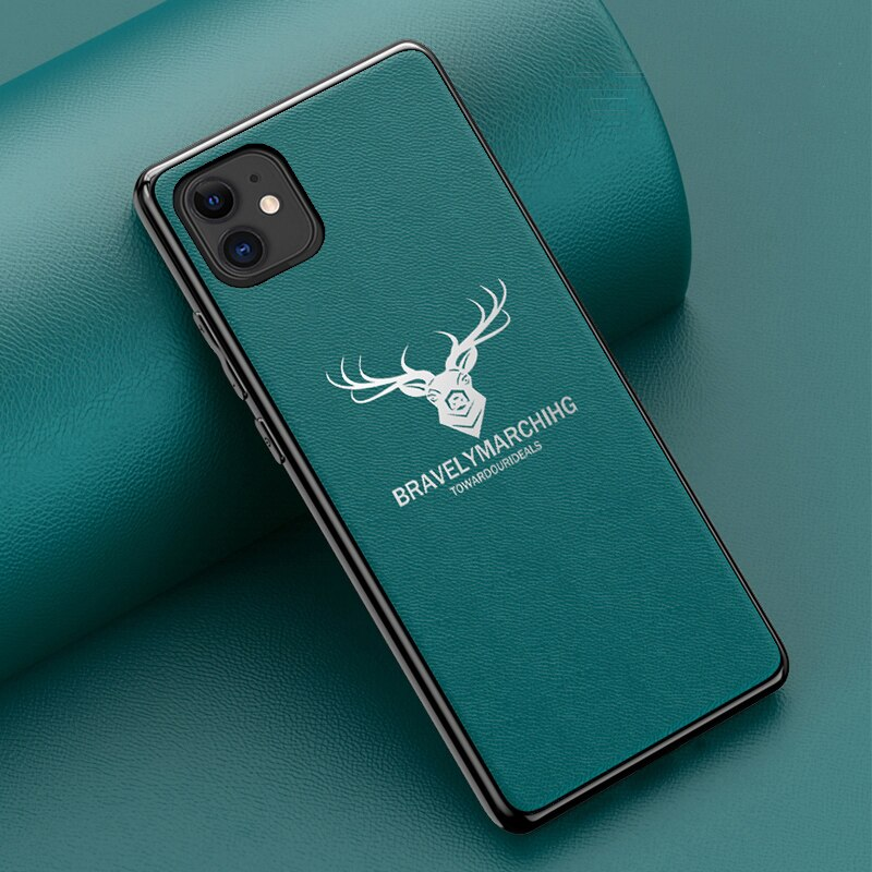 Luxo alce padrão capa de couro caso de telefone para iphone 11 pro max xs max xr tpu borda macia capa para iphone 6 7 8 plus caso de volta