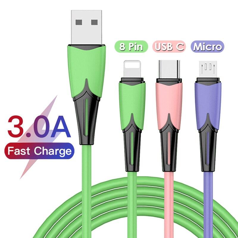 3A 3in1 USB 유형 C 마이크로 USB 8 핀 케이블 (iPhone 12 XS X XR 충전기 케이블 용) 180cm 3 in 1 2in1 고속 충전 USBC 케이블 (화웨이 용)