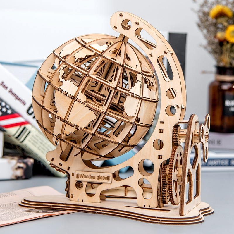Деревянный шар головоломка 3D DIY механический привод модель Трансмиссия вращающаяся Экипировка дом офис украшение игрушки взрослые