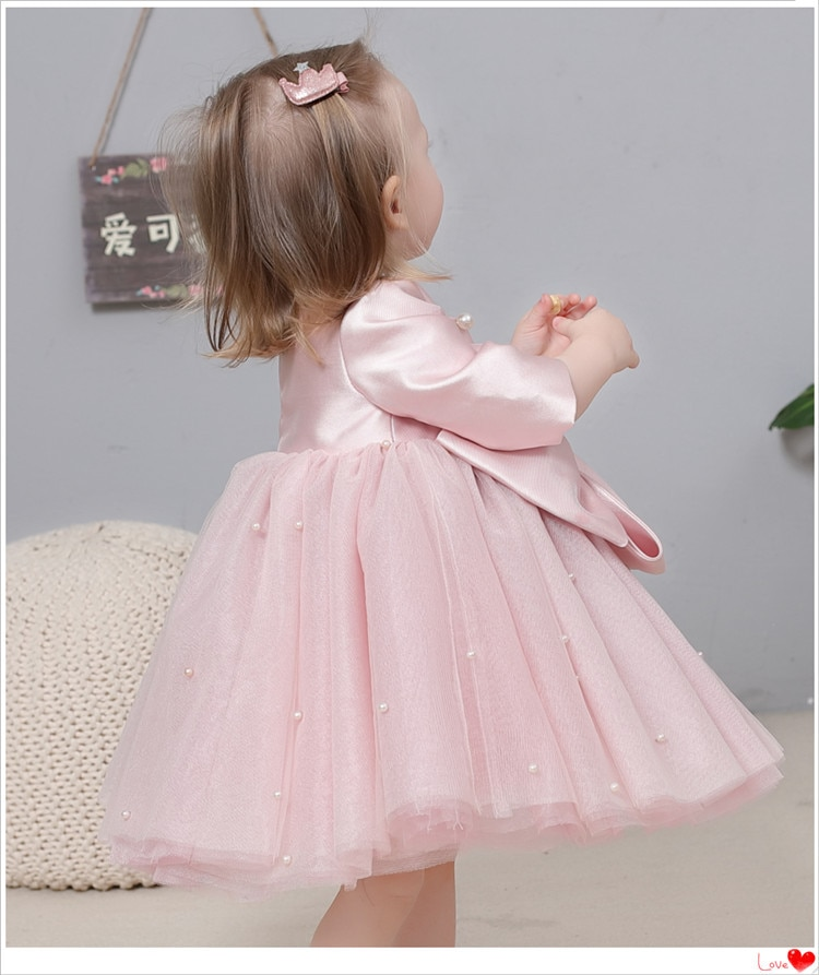 1st Birthday Dress For Baby Girl Bow Pearl Princess Girls Dress Wedding Party Kids Dresses For Girls Baptism Dress Ball Gown enlarge