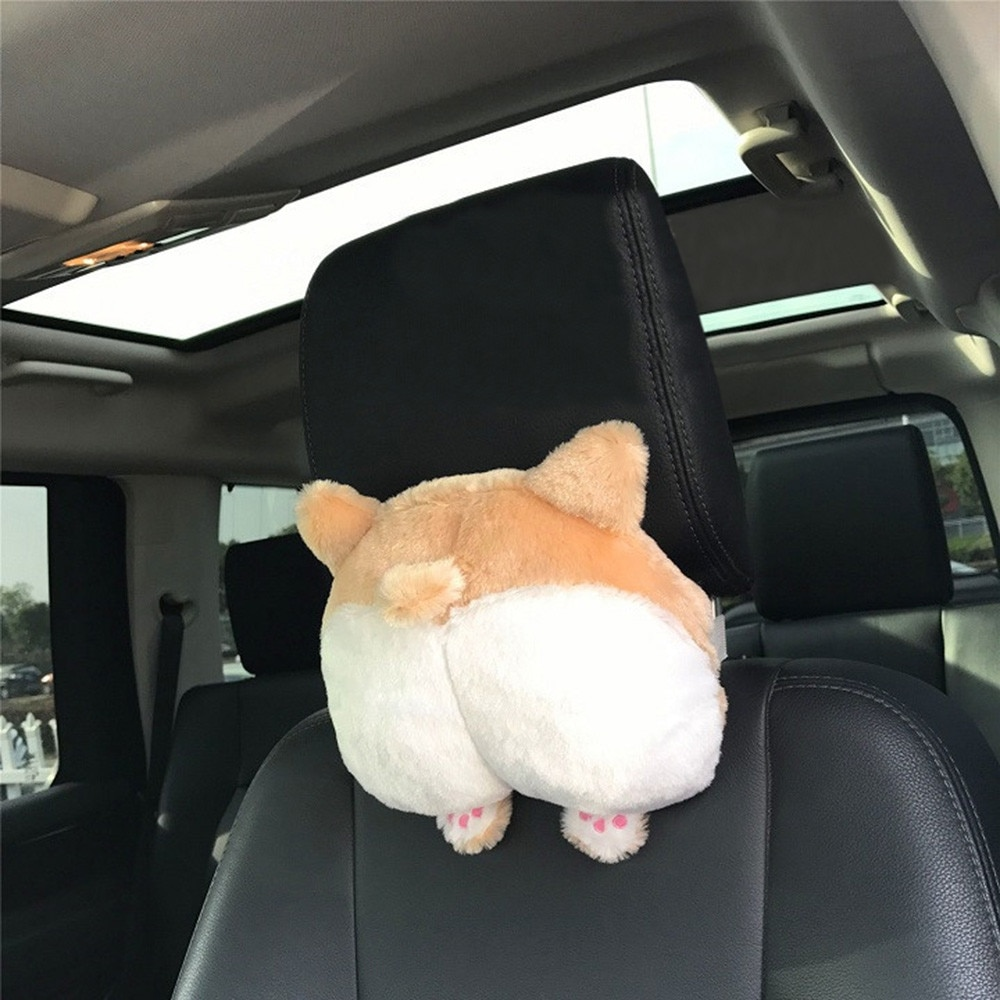 Car Pillow Dog Hip Headrest Cushion Plush Toy Car Accessories Cute Corgi Bottom Car Seat Neck Headrest  Car Accessories Interior