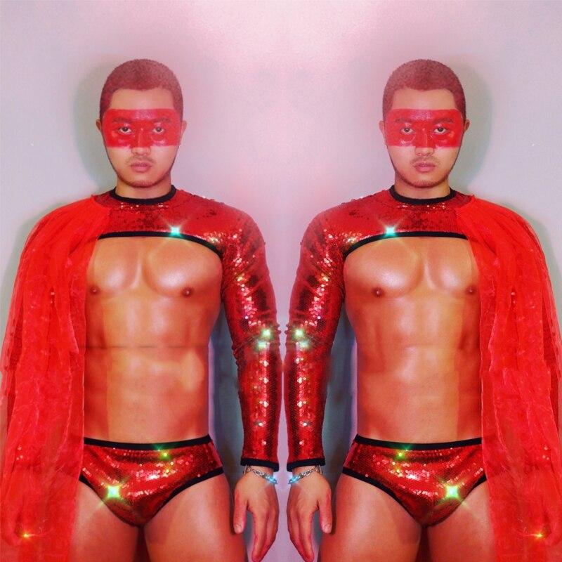 جوجو زي الرجال النساء مثير ملهى ليلي الرقص الزي مرحلة الأداء الملابس الأحمر الترتر نصف قطع بلوزة قصيرة الشاش عباءة XS2886