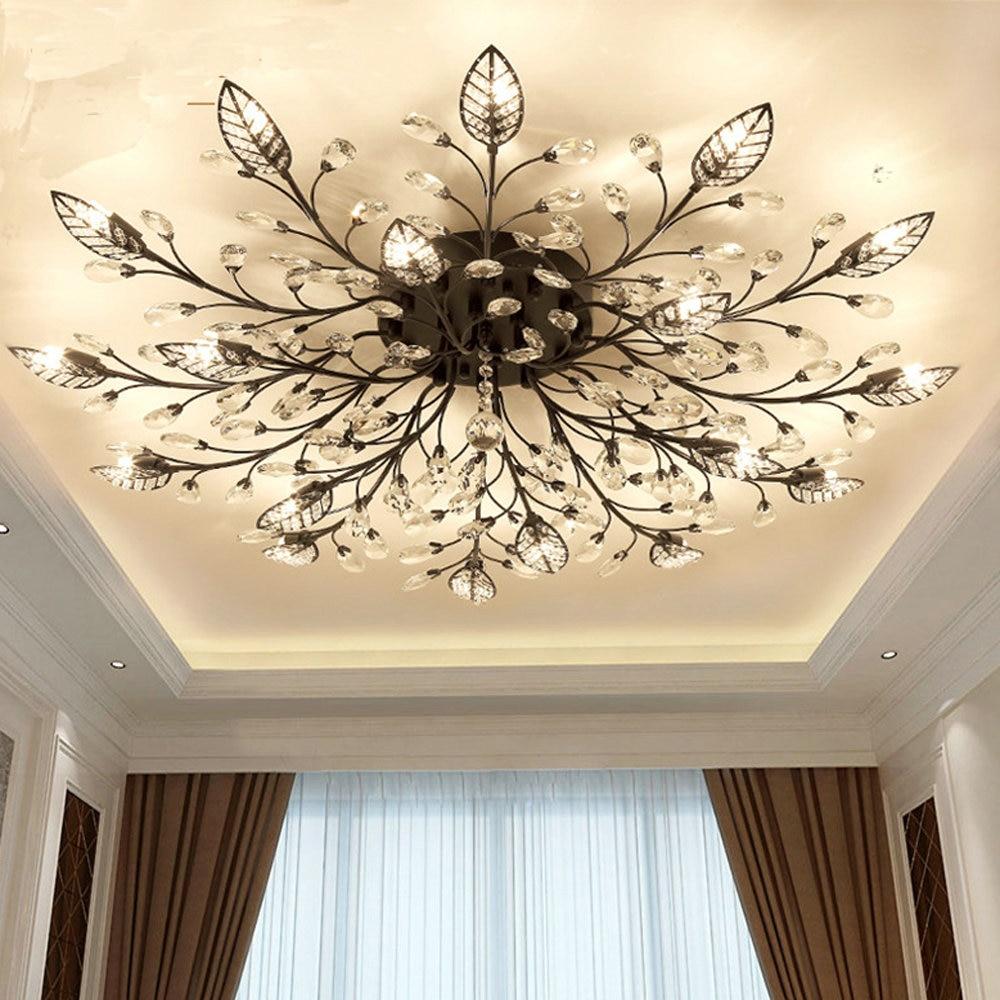 lustre de cristal k9 dourado preto luminaria moderna para teto de casa com montagem