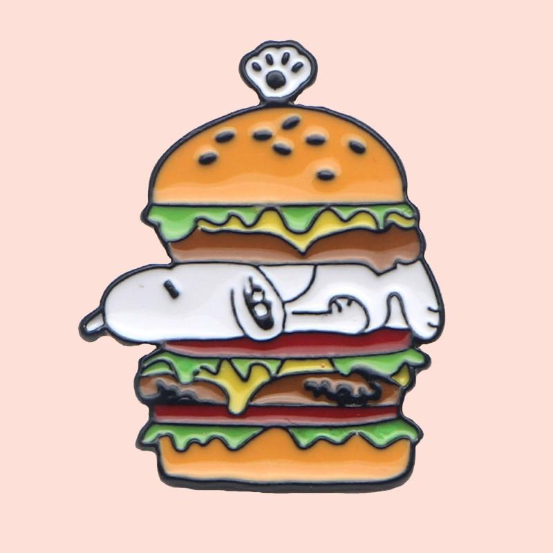 O334 creativos perros calientes hamburguesa lindo PIN de metal esmaltado broches dibujos animados broches metálicos sombrero de tela de vaquero insignia Collar joyería