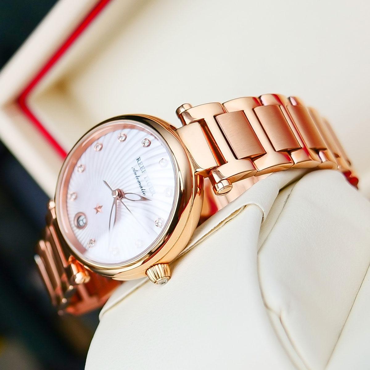 Reef Tiger/RT Luxury Watch Ladies Rose Gold Diamond Bracelet Watches Date Women Pink Watches Relogio Feminino Gift RGA1590 enlarge