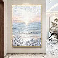 Keskin el-boyalı yağlıboya denizde Sunrise sundurma ışık lüks Modern zemin dekoratif boyama oturma odası koridor H