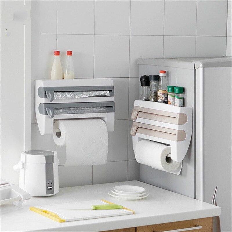 المطبخ البلاستيك الثلاجة غشاء تغليف تخزين قطع رف التفاف القاطع القصدير رقائق حامل المناشف الورقية رف مطبخ شنق حامل