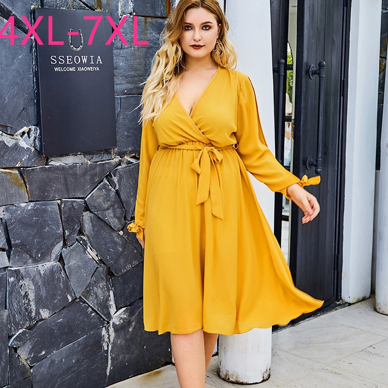 New 2020 summer plus size midi dress for women large long sleeve loose casual yellow sexy deep v neck dress belt 4XL 5XL 6XL 7XL