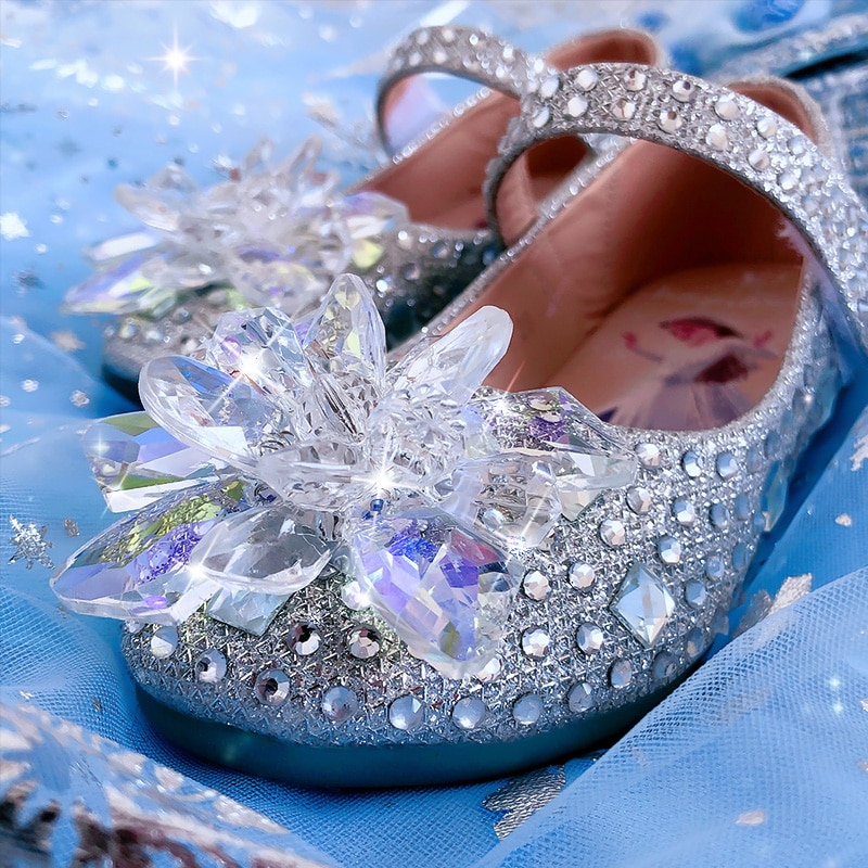 Girl's leather shoes ice and snow princess Aisa shoes children's soft sole small single shoes enlarge