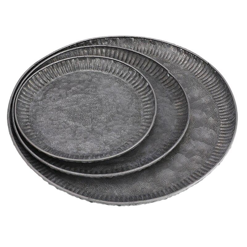 3 قطعة لوحة من الحديد الرجعية يدويا الجولة خمر العتيقة المطاوع تخزين تخدم الحديد الحرفية الدانتيل صينية للديكور المنزل