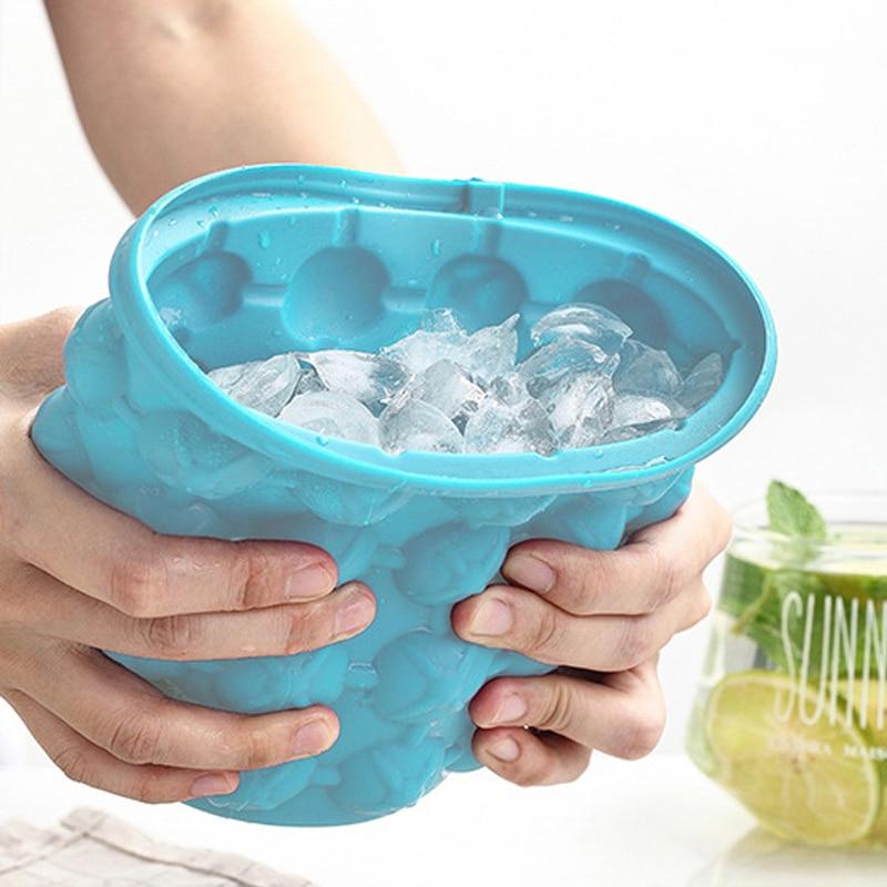 Cubo de hielo de plástico redondo, portátil, doble tapa, barril de vino, cocina del hogar, cubeta de hielo, herramienta de refrigeración, barra creativa, whisky Iced
