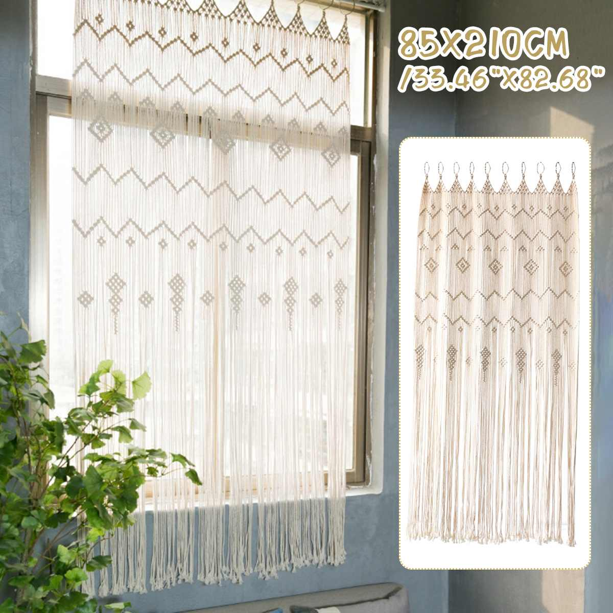 بوهيميا مكرامية نافذة الستار الجدار الشنق نسيج غرفة باب الزفاف خلفية مقسم الباب نافذة الستار خلفية الزفاف