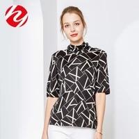 silk top womens high collar bottom shirt spring season mulberry silk knitting half sleeve t shirt temperament slim large size