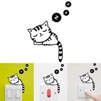 Autocollant Mural amovible pour interrupteur  dessin anime  chat  sommeil  salon  salle de bain  decoration  Art Mural  DIY bricolage